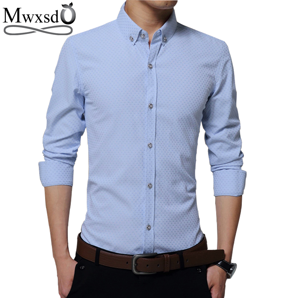 Mwxsd brand Summer casual Mens long sleeve breathing Shirt mens slim Fit dress business shirt big size m-5xl