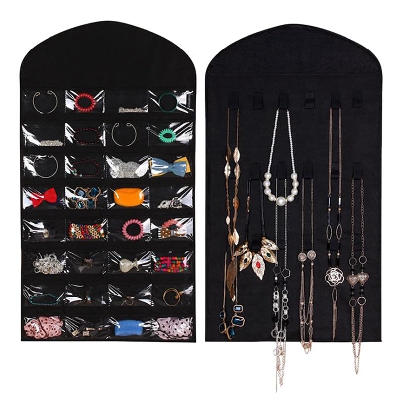 32-vierkante Opbergtas Sieraden Horloge Kleine Object Opknoping Tas Hanger Dubbelzijdig Opknoping Voor Garderobe Nachtkastje Dressing Kamer