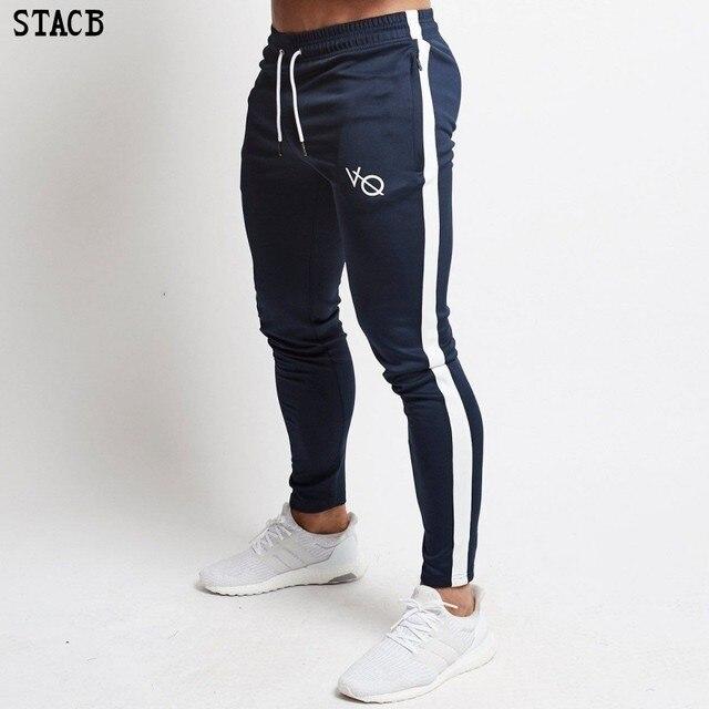 5a1b5222 Мужские Брендовые спортивные штаны модные Досуг тренажерные залы тренировки  Фитнес Спортивная Брюки эластичные хлопковые ящики брюки