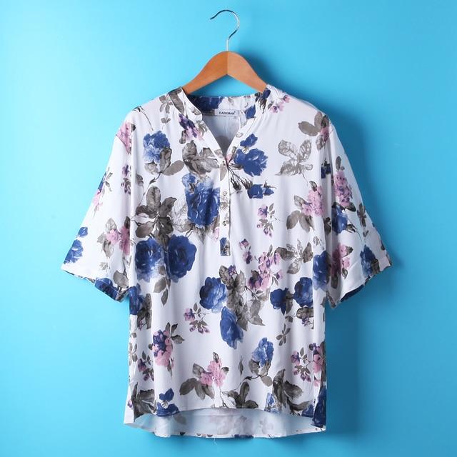 summer 2017 New Darkman Fashion xxxl xxl V-Neck Large Size Tops shirt plus  size white yellow blouse super large women clothing f7371b522dc8