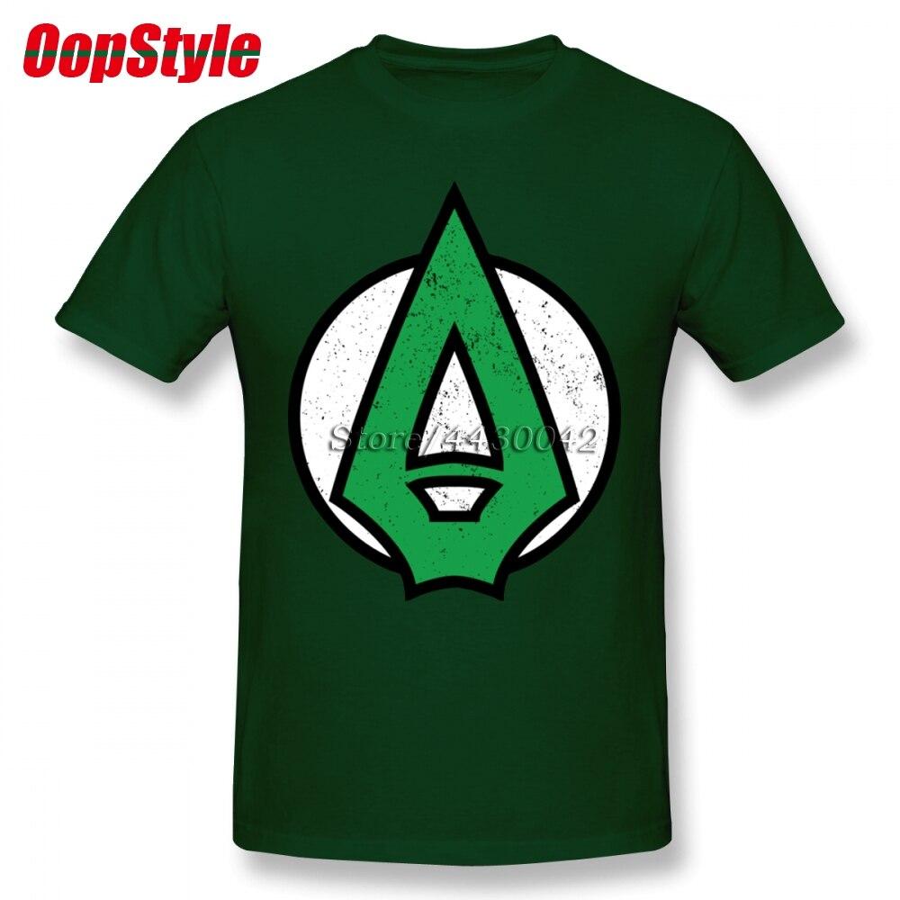 TV Comic Green Arrow Logo T-shirt For Men Plus Size Cotton T