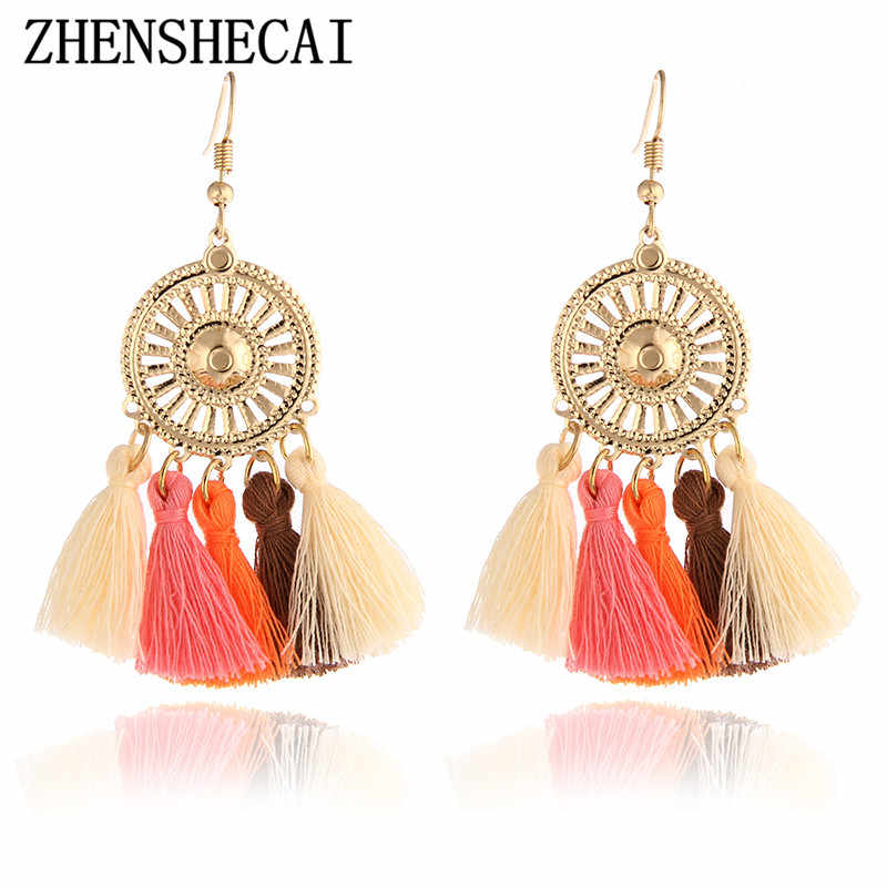 Ethnic Tassel Earring Fashion Drop Earrings Vintage Gold Hook Bohemian Handmade Earrings Jewelry for Women Girl e0147