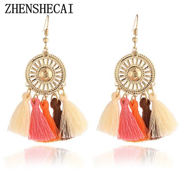 Ethnic Tassel Earring Fashion Drop Earrings Vintage Gold Hook Bohemian Handmade