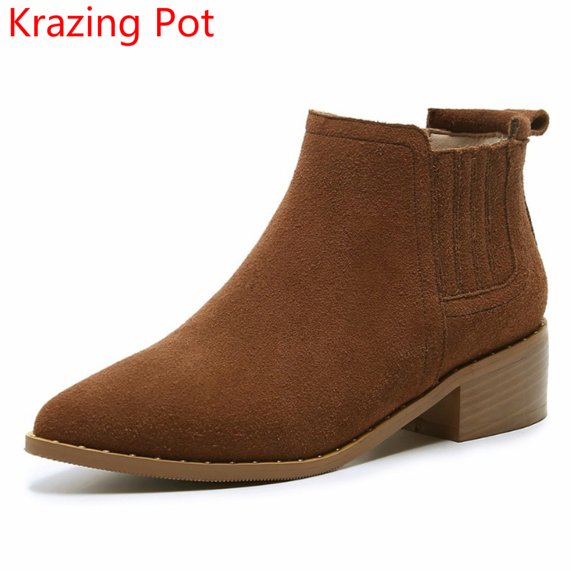 Handmade Cow Suede Solid Slip on Chelsea Boots Superstar Pointed Toe Thick Heel Nude Fashion Sexy Pregnant Women Ankle Boots L07 krazing pot big szie cow suede slip on thick heel tassel bowtie winter pointed toe fashion superstar runway ankle boots l5f1