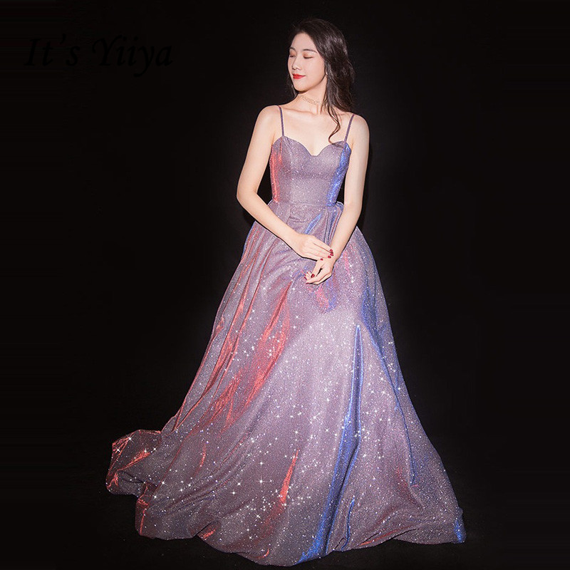 It's YiiYa Evening Dress Spaghetti Strap Sexy Purple Formal Dresses Bling Star Shining Strapless Long Party Gown E087(China)