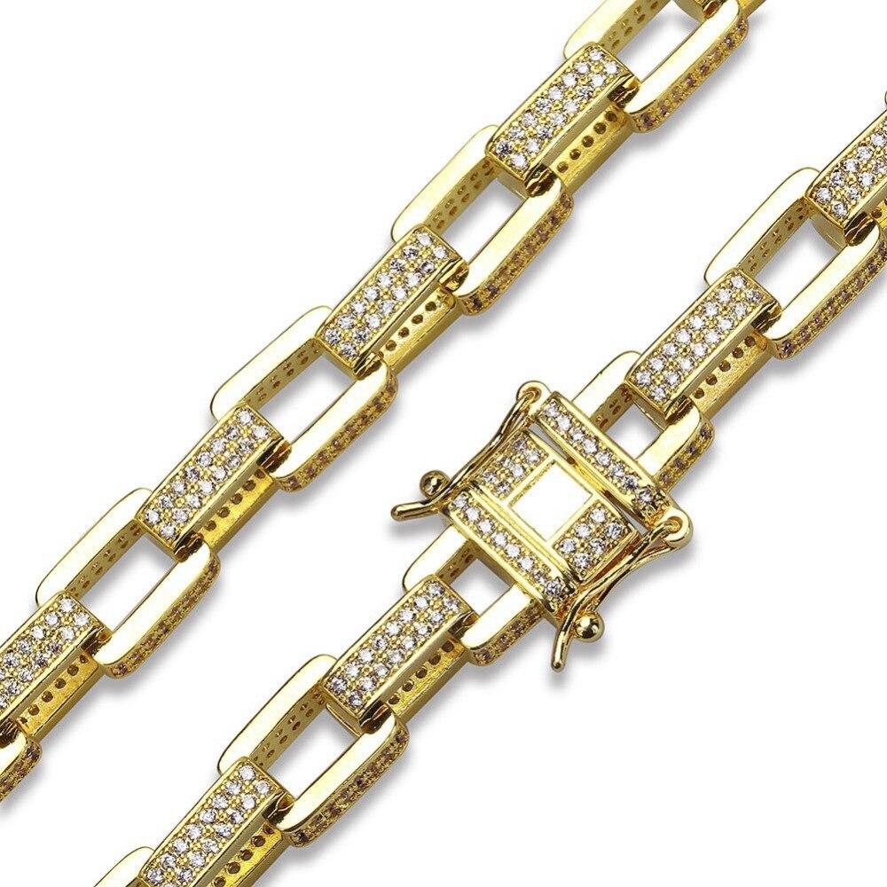 Hip hop hommes boîte chaînes cuivre collier or argent rempli Micro Pave CZ pierre boîte fermoir lien chaîne colliers 18 pouces 22 pouces - 3