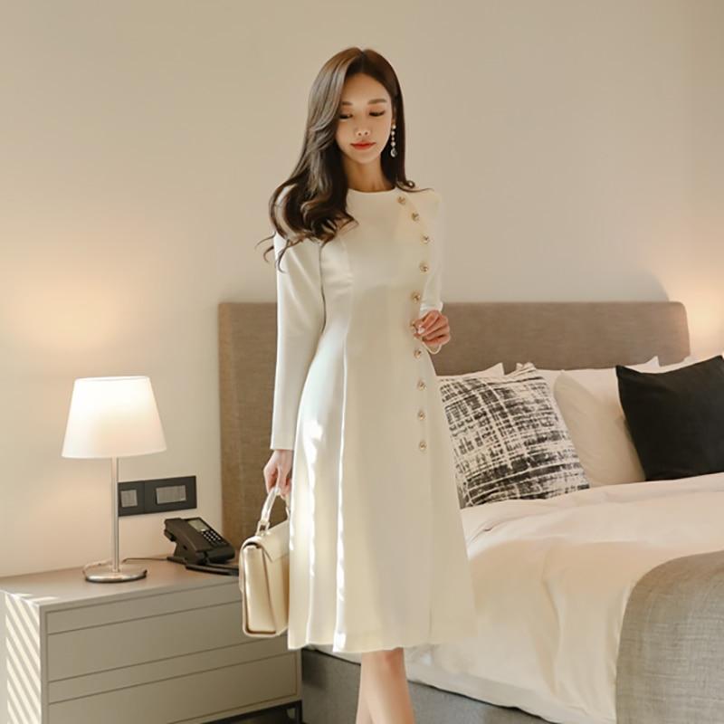 Elegant Dress Women Casual Long Sleeve Dress Office Lady Runway Designers High Fashion Dress 39