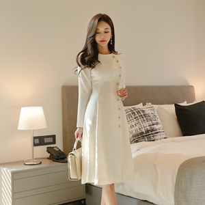 Elegant Dress Women Casual Long Sleeve Dress Office Lady Runway Designers High Fashion Dress(China)