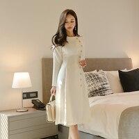 Elegant Dress Women Casual Long Sleeve Dress Office Lady Runway Designers High Fashion Dress