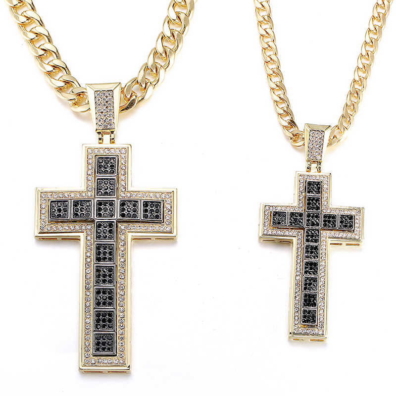 Double Trendy Cross Pendant Iced Out Shining Crystal Black/Silver/Gold Chain Necklace Men Necklace Hip Hop Jewelry Cuba's Neckla