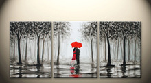3 Pieces Modern Beautiful black and white forest red umbrella couple Home living room decoration Painting Framed PJMT-37