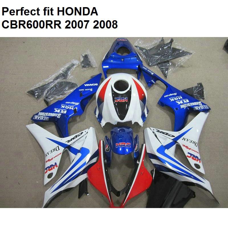 Aftermarket Body Hulls Fairings For Honda CBR 600 RR 2007 2008 Blue White Fairing Kit CBR600RR 07 08 MB81
