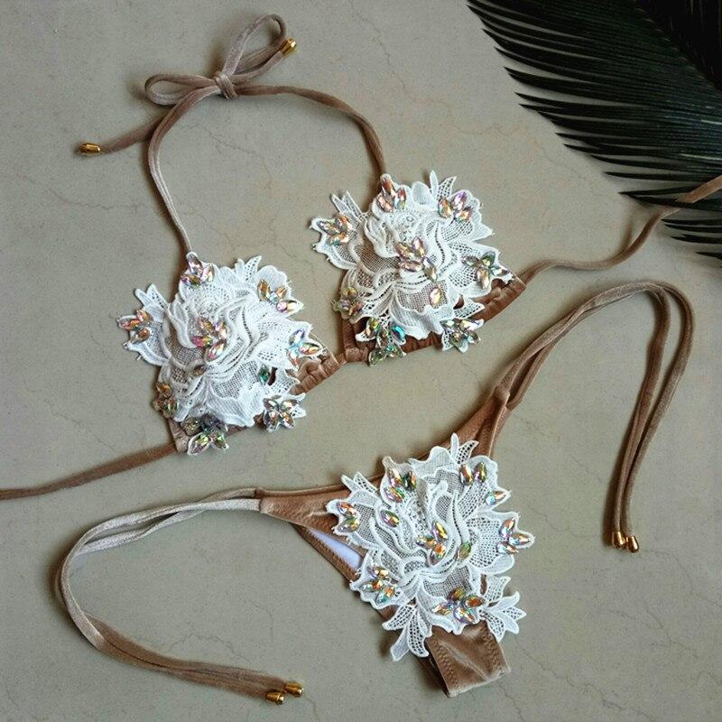 Luoanyfash Maillots De Bain Femmes Push Up Maillot de Bain Diamant Bikini 2018 fleur dentelle Strass Maillot de Bain Femmes Bikini Ensemble Maillot De Bain