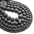 Grânulos redondos preto volcanic lava pulseira encantos diy beads para fazer jóias pedra natural beads fazer berloque quente tamanho 4-12mm