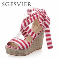 SGESVIER Sandalen vrouwen Zomer wiggen sandalen vrouwelijke schoenen vrouwen platform schoenen open teen causale schoenen maat 33-43 AA502
