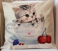 Hot Sale Cup Adorable Cat Series Decorative Pillow Case Cushion Cover High Quality Cotton Linen Sofa