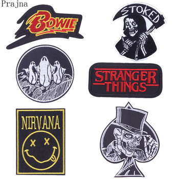 Prajna Sewing Stranger Things Nirvana Viking Patch Iron On Embroidered Patches For Clothes Applique Bowie Patch Sticker Badge image
