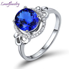 LOVERJEWELRY Engagement Oval 7x8mm Natural Diamond Tanzanite Ring 18kt White Gold Genuine Gemstone Jewelry For Wife Loving Gift