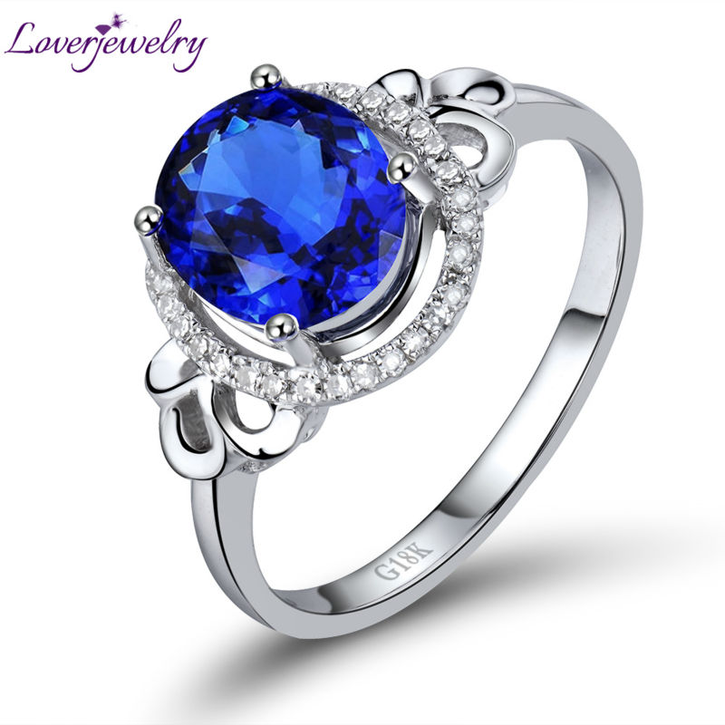 New Engagement Oval 7x8mm Natural Diamond Tanzanite Ring 18kt White Gold Genuine Gem Jew ...