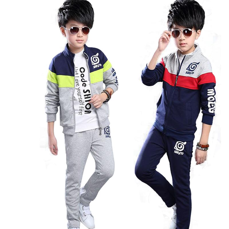 Suits for Teenagers Boys Clothes Sets Children Sports Suits Kids Tracksuit Fashion Boy Clothing Set Autumn Zipper jacket+pants autumn winter boys girls clothes sets sports suits children warm clothing kids cartoon jacket pants long sleeved christmas suit