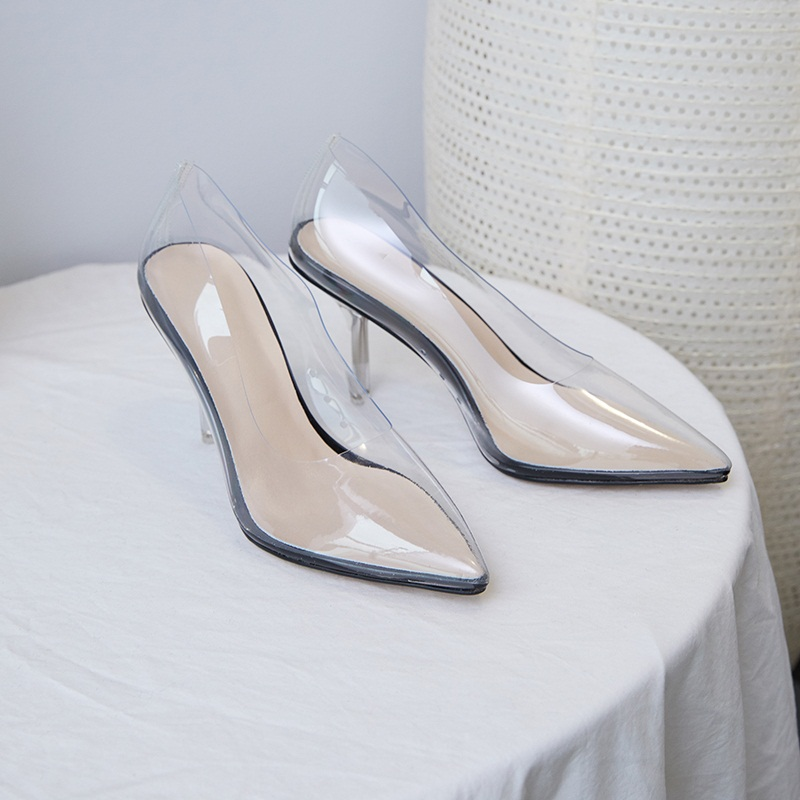 women pumps transparent super high heels sexy ladies pointed toe slip-on women wedding party dress shoes black nude shoes woman