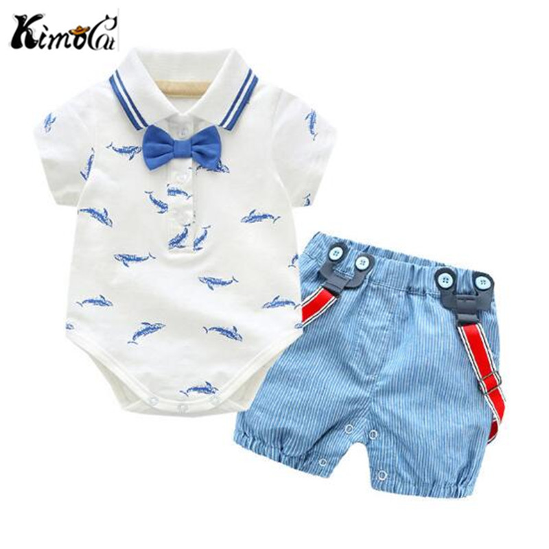 Kimocat Summer new gentleman bow-tie whale print crawler suit for baby boy handsome first year suspenders