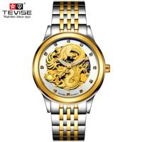 TEVISE Men Luxury Gold Dragon Automatic Mechanical Watches Vintage Skeleton Self Wind Man Wristwatches Masculino TVS09