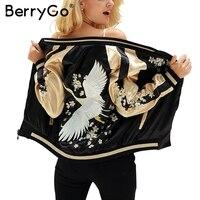BerryGo 꽃 자수 새틴 재킷 코트