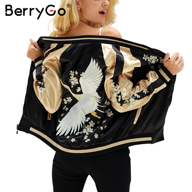 BerryGo Floral embroidery satin jacket coat Autumn winter st