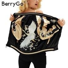 BerryGo פרחוני רקמת סאטן מעיל מעיל סתיו חורף רחוב מזדמן נשים מעיל בייסבול מעילי הפיך sukajan מפציץ