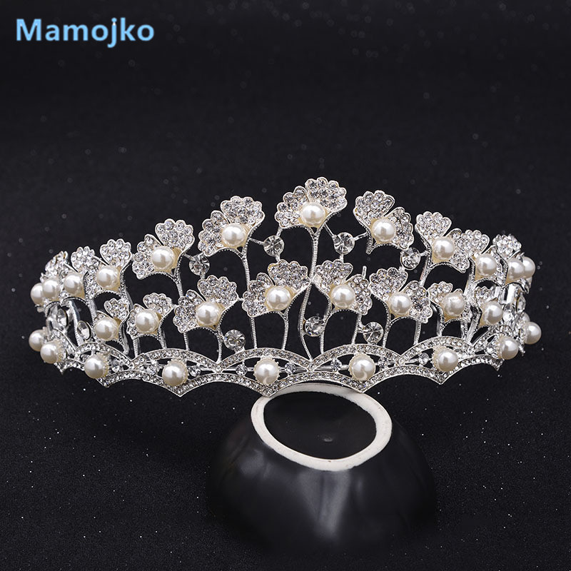 Mamojko Baroque Luxury Multilayer Full Rhinestone Pearl Wedding Crown For Women Fashion Bridal Dress Hair Accessory Brides Tiara