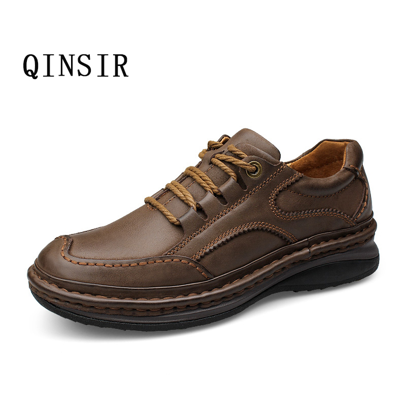 Mens Casual Shoes Genuine Leather Shoes Men Fashion Lace Up Outdoor Work Shoes Breathable Soft leather Men Male Moccasins us 6 10 trendy mens lace up soft genuine leather sneaker shoes boys students casual outdoor white leather shoes