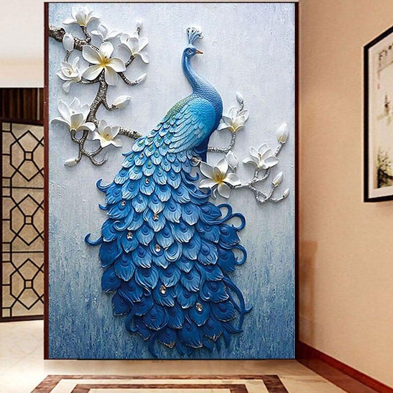 5D DIY Full Drill Diamond Painting Kit Peacock Magnolia Diamond Embroidery Handmade Rhinestone Mosaic Cross Stitch Home Decor