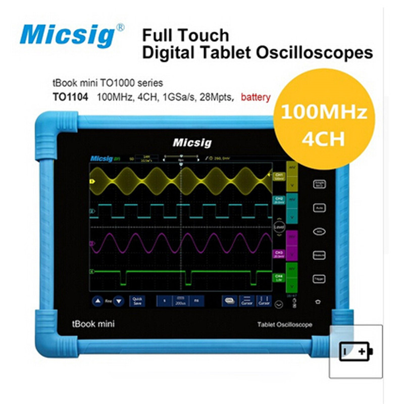 Digital Tablet Oscilloscope 100MHz 4CH 28Mpts portable oscilloscopes Automotive diagnostic oscilloscope touchscreen TO1104