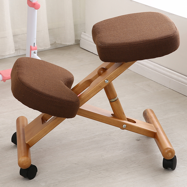 Ergonomic Kneeling Chair With Caster Stool Wood Office