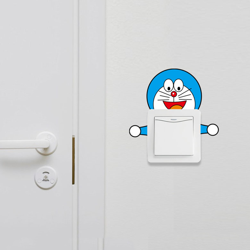 Hot Sale Cartoon Doraemon Switch Stickers Creative PVC Removable Wall Stickers Home Decorative Wallpaper D