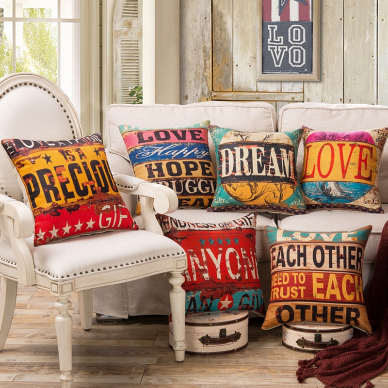 1PCS/lot Linen Cushion Cover 45x45cm/17.7x17.7 Decorative Home Decor Retro Rusty Style Decorative Throw Pillow