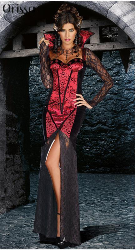 Just One Bite Red Black Retro Sexy Burlesque Vampire Halloween Costume Girls Sexy -8040