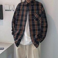 Spring New Plaid Shirt Men Fashion Retro Cotton Casual Man Streetwear Wild Loose Long-sleeved Male Clothes S-XL