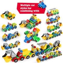 купить 6 IN 1 Robot Building Blocks Sets DIY Vehicle Car Blocks Children Assemble Truck Car Bricks Toys Kids Children Gift онлайн