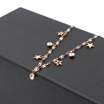 Hot Cute 8 Shape Chain Four Stars Three Crystal Woman Anklets High Quality Titanium Steel Rose Gold Color Woman Like Anklet Gift 5