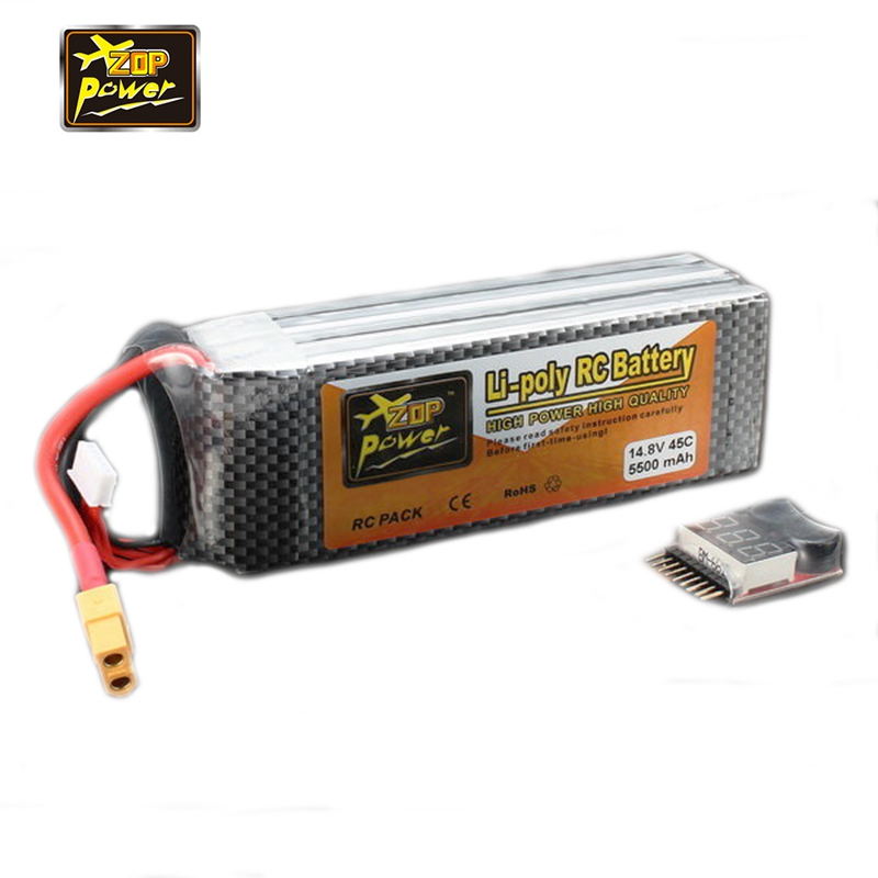 ZOP Power 14.8V 5500mAh 4S 45C Rechargeable Lipo Battery XT60 Plug With Buzzer Alarm for RC Drone Helicopter Toys