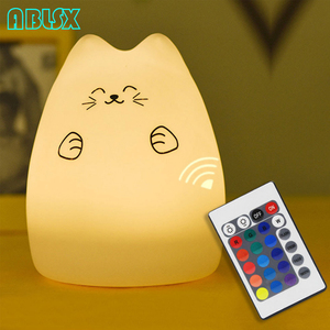 Image 3 - Free Star 7 Color Changed Night Light Cartoon Cat Nightlights For Children With Remote Control 3D Kitty Christmas Xmas Lamp Gift