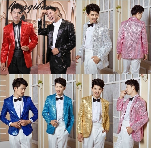 Sequins Men 's stage costumes evening performance clothing  suits jacket singer singing dance suits