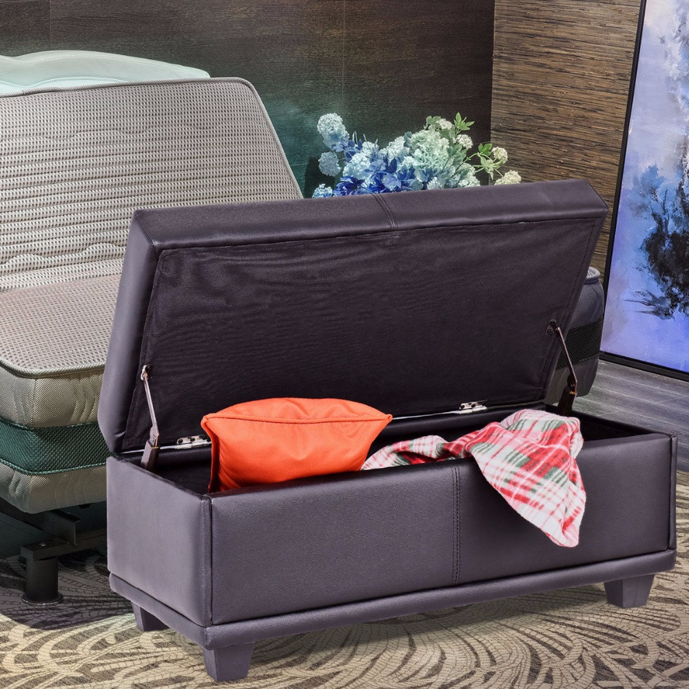 Giantex 31 Storage Ottoman Bench Ottoman Footstool PVC leather Seat Box Black Living Room Furniture HW57521