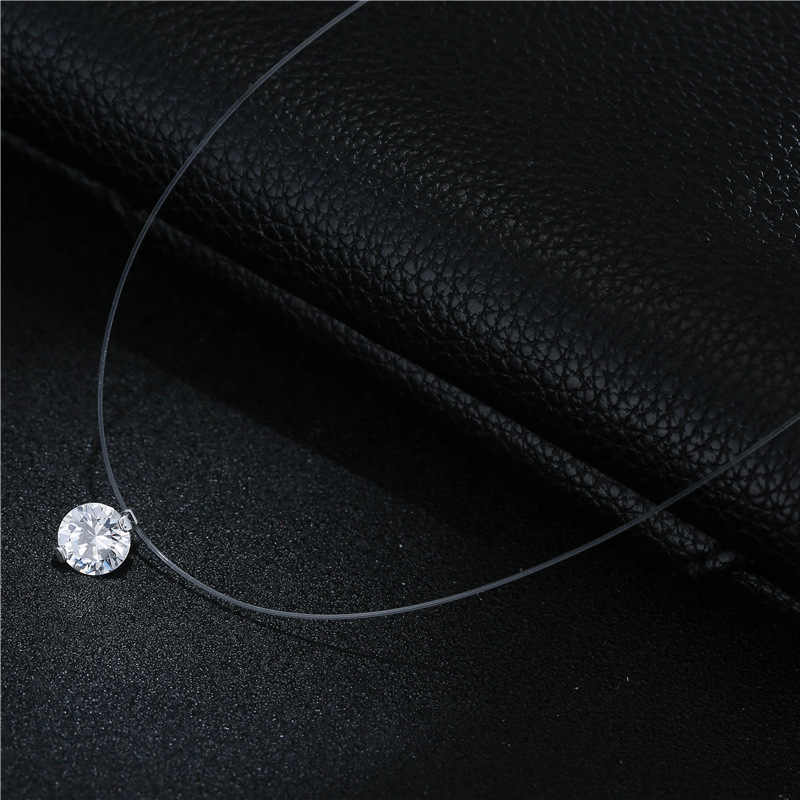 M MISM Women Simple Necklace Crystal Transparent Fishing Line Rhinestone Invisible Chain Girls Jewelry Accessories Shinning