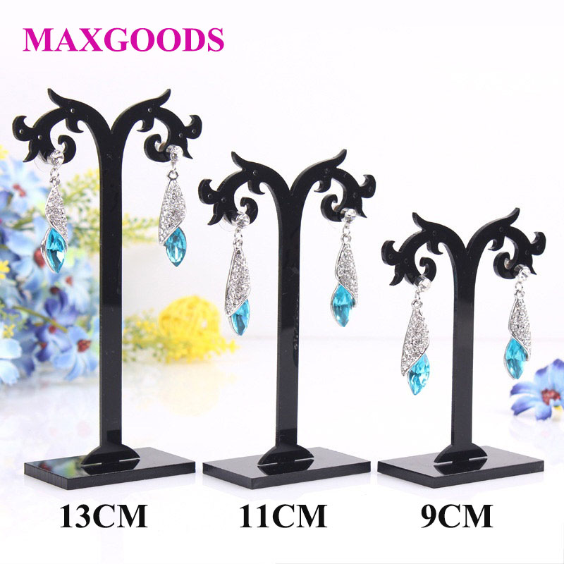 3 PCs/Set Black Transparent Different Height Acrylic Earrings Display Stand Jewelry Organizer Holder Removable Jewelry Display