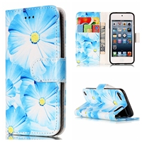 Vintage Flip Wallet PU Leather Case For IPod Touch 5 6 Marble Seawater Orchid Rhododendron Protective