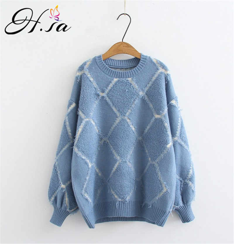 56c6c64a857 H.SA 2018 Women Oversized Pull Femme Oneck Argyle Sweater and Pullovers  Winter New Chic