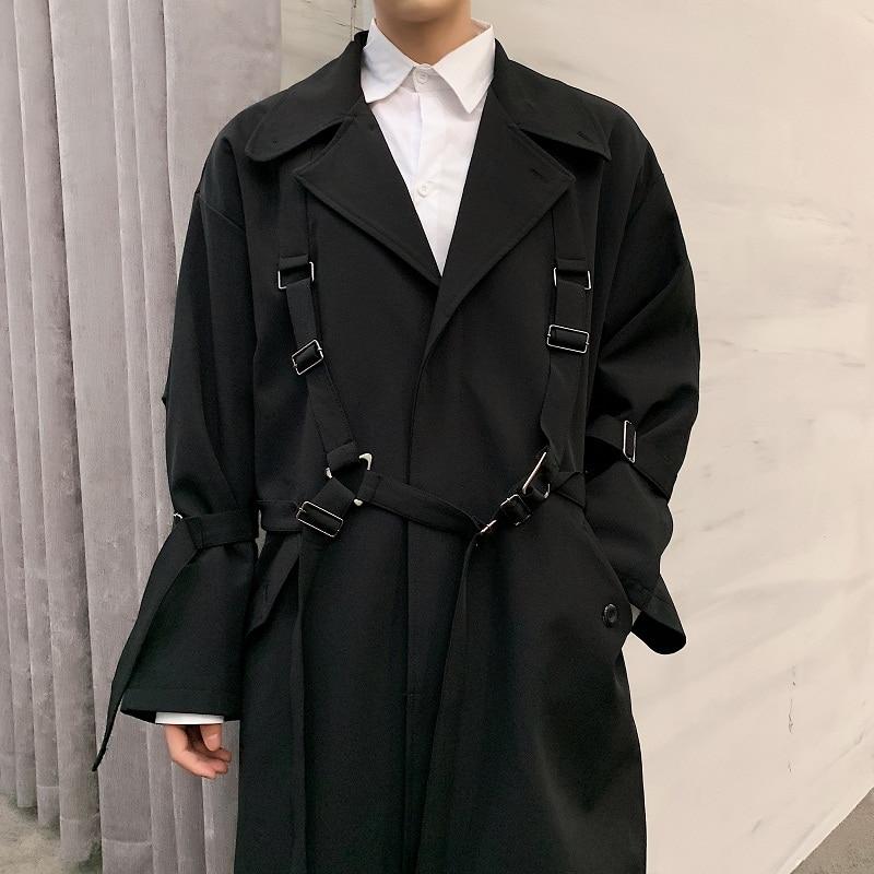 Hommes haute rue Punk Hip Hop ruban lâche longue Trench manteau printemps automne mâle Streetwear mode coupe vent veste